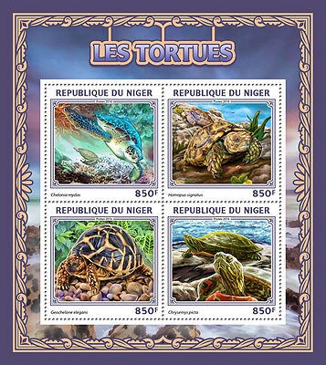 Niger 2016 MNH Turtles 4v M/S Green Sea Turtle Tortoises Reptiles Stamps