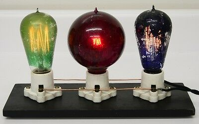 Antique Tipped Mazda Lamp Light Bulb Display Thomas Edison era electrical old