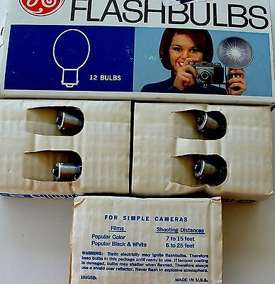 """Ge 5B Flashbulbs 12 Blue Color Nos Untested """"as Is"""""""