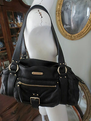 Authentic MICHAEL KORS Black Pebbled Leather Hobo Shoulder Bag Purse Handbag