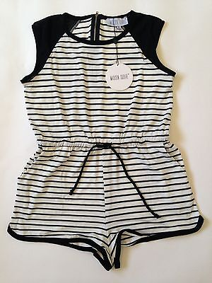MADISON SQUARE / M  Black/White Stripped Romper NWT Cotton/Polyester Blend Tie-W