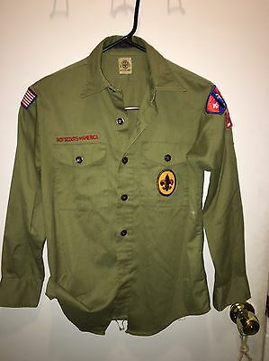 Vintage Boy Scout uniform olive green clothing shirt Long sleeve  50s/60s?