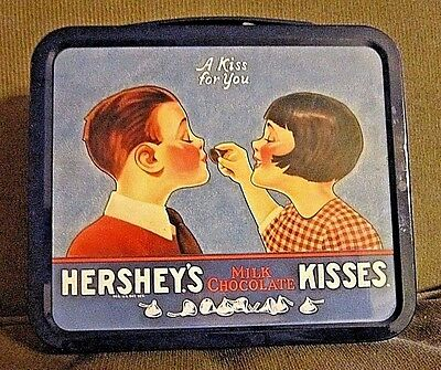 """Vintage Hershey's Milk Chocolate Kisses Mini Lunch Box """"A Kiss For You"""" Tin"""