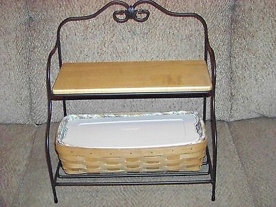 LONGABERGER Foundry Wrought Iron Small Baker's Rack with 1 Shelf and 1 Basket