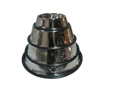 Stainless Steel No tip No Slip Dog Puppy Pet Cat Food or Water Bowl Dish Water