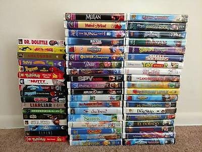 Lot of 55 VHS tapes all in great condition , Includes 15 Walt Disney
