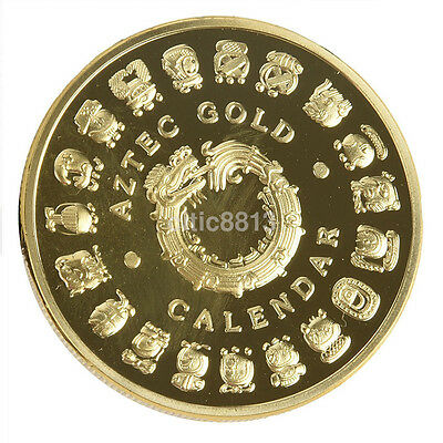 Gold Plated The Mayan Aztec Long Count Calendar Commemorative Coin Collection US