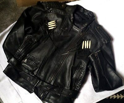 Women's Black Leather Motorcycle jacket Biker with concha 10 PROTECH Vintage