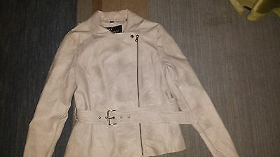 Guess Faux Leather Zipper Moto Cream Jacket Women's Size L