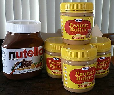 NUTELLA 750g & 4 x 375g Kraft crunchy Peanut butter - out of date