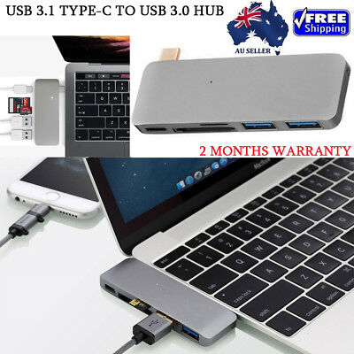 New Grey High Speed 5-In-1 Type-C USB HUB 3.0 To USB-C Hub Combo Hub For MacBook