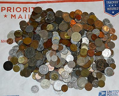 5 LBS. WORLD COINS lot UNSEARCHED mixed countries pounds J world foreign