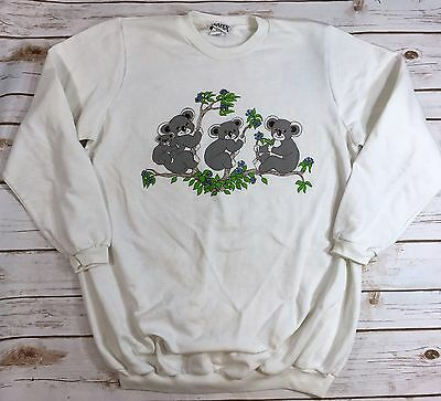 True Vintage 80s Koala Bear White Sweatshirt Womens Size Large Novelty Alaten