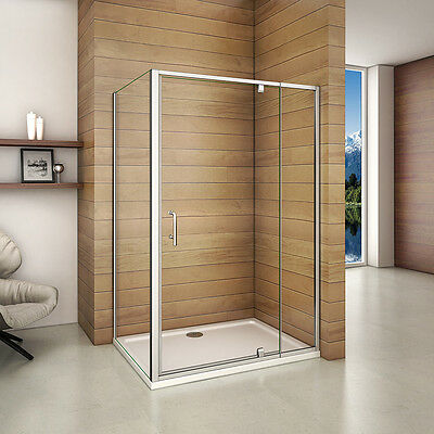 Aica Pivot Hinge Shower Door Enclosure and Tray 6mm Glass Panel Flexible Screen