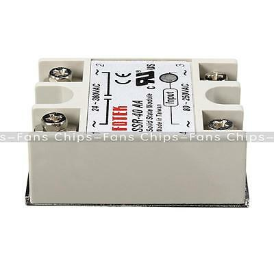 SSR-40AA 40A Solid State Relay Module 80-280V AC / 90-480V  Aluminum Heat Sink