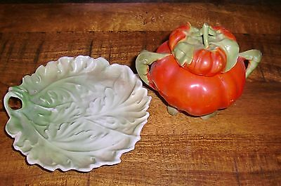 Darling Collectable Vintage Antique Tomatoe Sugar Bowl And Leaf Plate
