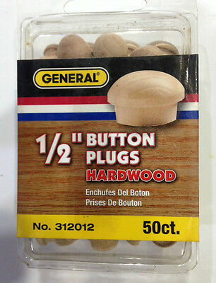 "Wood  Plugs 2 Packs General  312012  Button Head Wood Plugs-Hardwood, 1/2""  NEW"