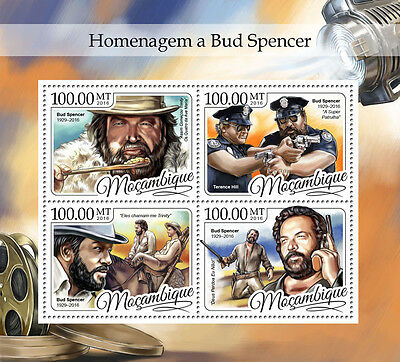 Mozambique 2016 MNH Bud Spencer Terence Hill 4v M/S Film Movie Stars Stamps