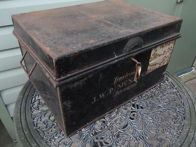 Large Vintage Metal Deed Box Storage Tin Chest #4 Signwritten McNaught