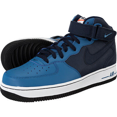 san francisco 93bc5 e93fc Mens Nike Air Force 1 Mid Sneakers New, Obsidian Blue  Navy 315123-406
