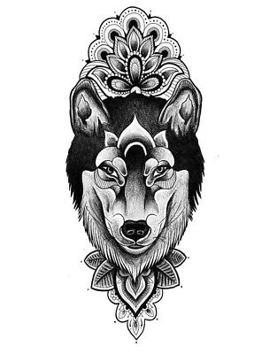 High Quality 9cm x 4cm Fake Tattoo Gothic Wolf Waterproof Temporary Body Art