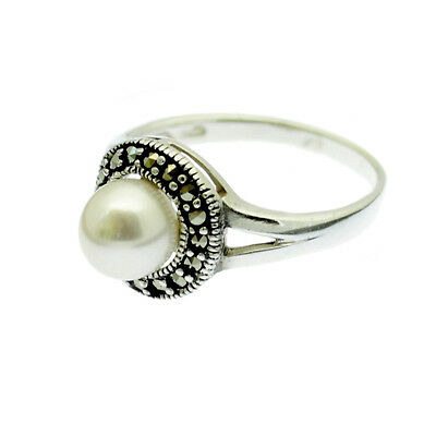 Pearl & Marcasite Ring Sterling Silver Large White Pearl Size L N P R