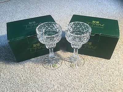 Tyrone Crystal candle holder glasses old wedding gift rare antique glass