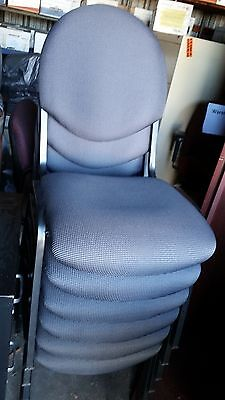 Lot of 6 Stacking Banquet Padded Chairs Blue/Gray Fabric Seats Steel Frame