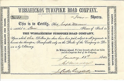 1852 PENNSYLVANIA Wissahickon Turnpike Road Co Stock Certificate #31 Springfield