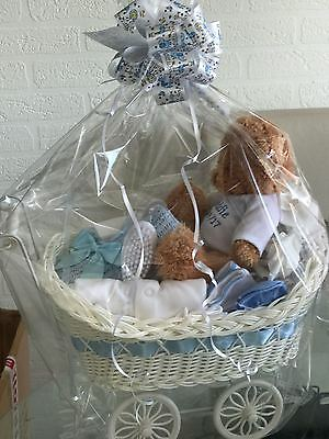 PERSONALISED BABY SHOWER GIFT - DELUXE PRAM HAMPER  (Baby Boy)
