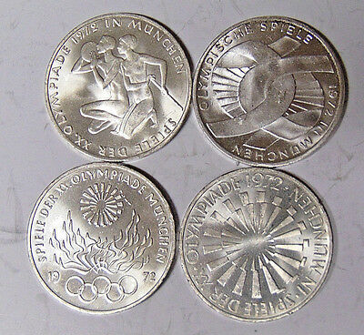 Lot of 4 German 1972 Olympic 10 Mark Silver Coins Uncirculated Condition (31517)