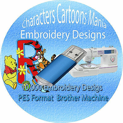 USB 1GB Famous cartoon  Embroidery designs 10,000+ PES format brother Machine