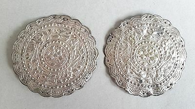 A pair of Antique Straits Chinese silver pillow end with peony in medallion