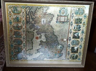JOHN SPEED Gold Foil map of the British Isles 1610-1612 in Guilt Frame