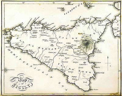 Map of Sicily Italy Reproduction 1813 Print