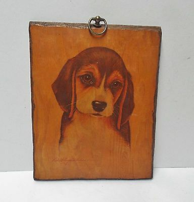 Vintage Robert Guzman Forbes Wood Wall Hanging Plaque Picture, Beagle Puppy Dog