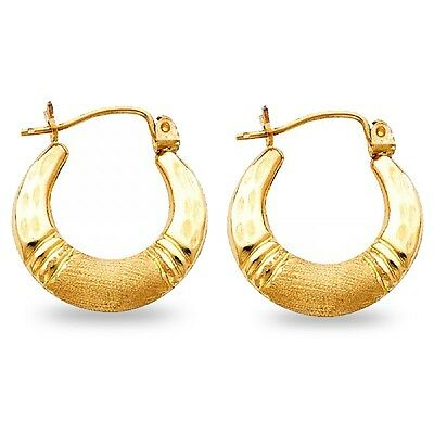 Shrimp Hoop Earrings Solid 14k Yellow Gold Hollow Satin Finish Polished Fancy