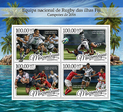 Mozambique 2016 MNH Fiji National Rugby Team 4v M/S Sports Stamps