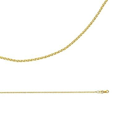 Solid 14k Yellow Gold Necklace Wheat Chain Flat Open Cable Thin , 1.5 mm