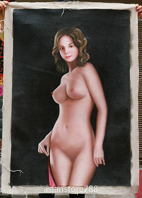 """40"""" Chinese Oil Painting Canvas Handpainted Beautiful Women Belle Nude Art Lady"""