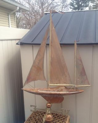 """Hand Forged 38"""" Tall Weathervane Copper Schooner Sailing Boat Rare Nautical Ship"""