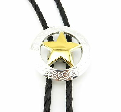 Texas Sheriff Star Gold/Silver Western Cowboy Rodeo Leather Neck Bolo Tie