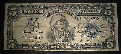 1899 Five Dollar $5 Silver Certificate- Indian Chief- Nice Note!