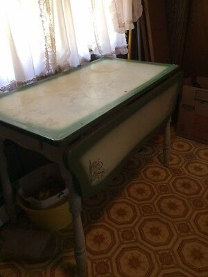 Retro Drop Leaf Enamel Table