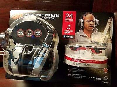 3M WorkTunes Wireless Hearing Protect AM/FM Bluetooth Headphone W Safety Glasses