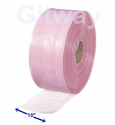 "10"" x 1075' Anti Static Poly Tubing Tube Plastic Bag Custom Bags on a Roll 4ML"