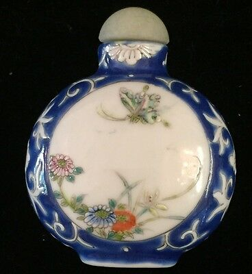 Beautiful Antique/vintage Miniature Chinese Snuff Bottle Blue/white