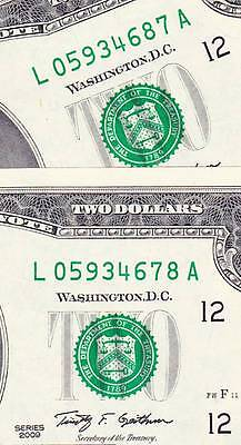 $2 2009 L/A Broken Ladder PAIRS 34567890 Out of Order Crisp, Uncirculated.