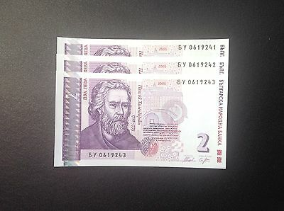 Bulgaria ,2 Leva ,2005 ,3 PCS Consecutive Lot ,UNC .