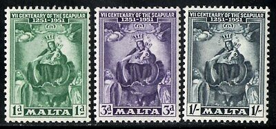 Malta 1951 Seventh Centenary of the Scapular  SG.258/260 Mint (Hinged)